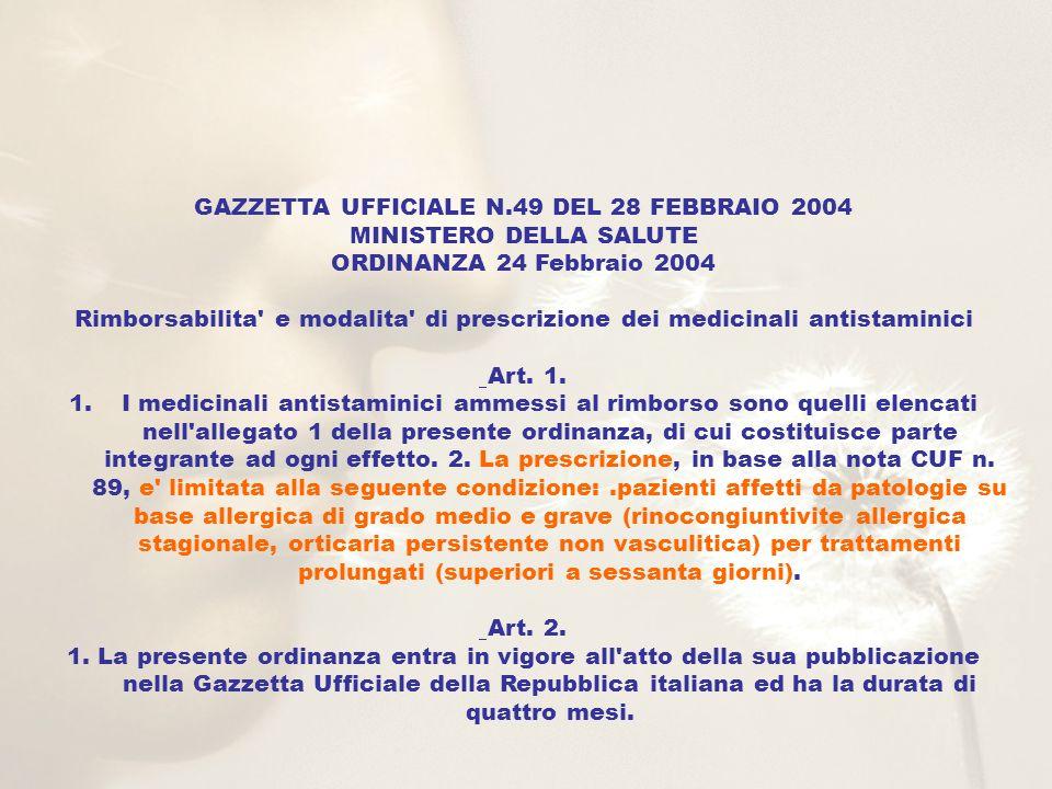 GAZZETTA UFFICIALE N.49 DEL 28 FEBBRAIO 2004 MINISTERO DELLA SALUTE