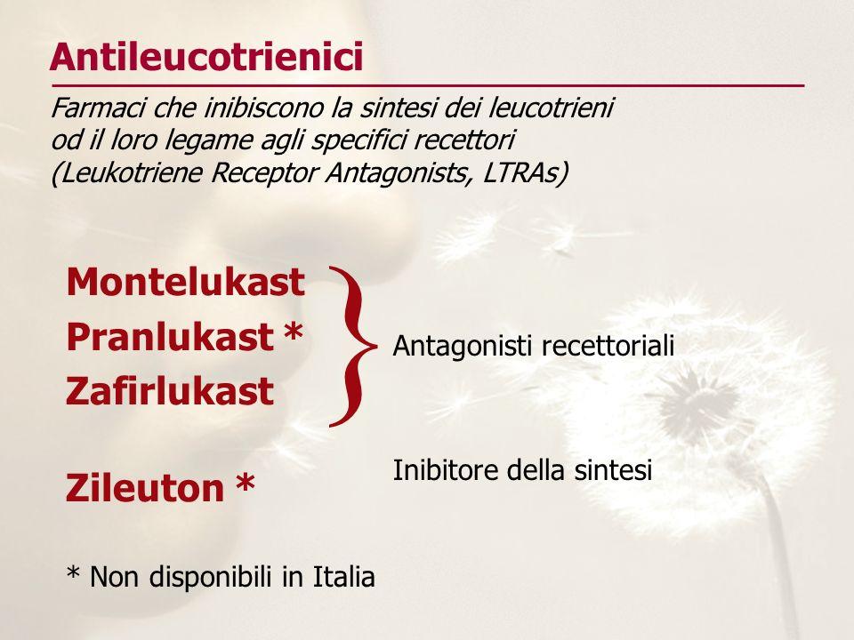 } Antileucotrienici Montelukast Pranlukast * Zafirlukast Zileuton *