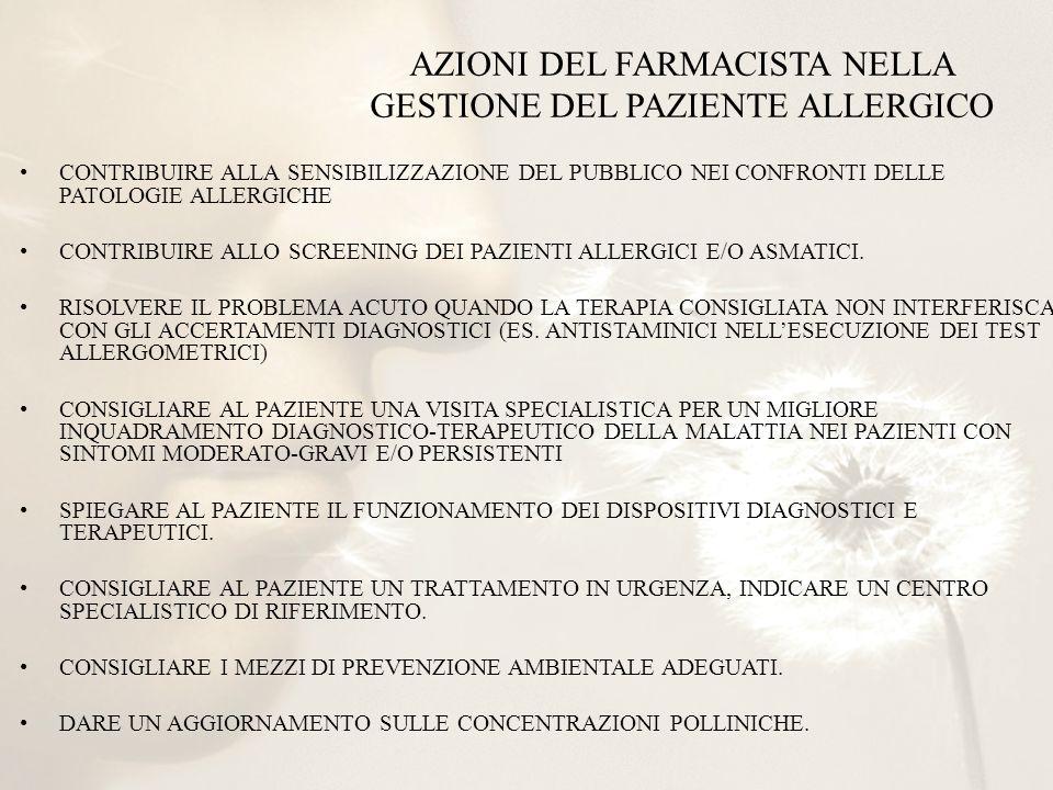 AZIONI DEL FARMACISTA NELLA GESTIONE DEL PAZIENTE ALLERGICO