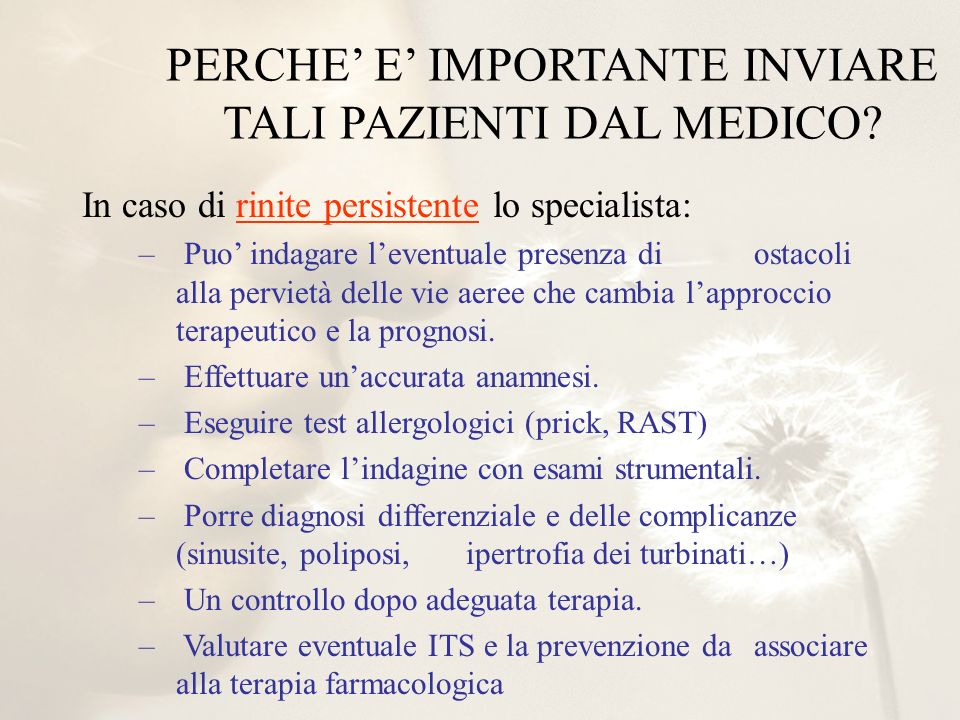 PERCHE' E' IMPORTANTE INVIARE TALI PAZIENTI DAL MEDICO