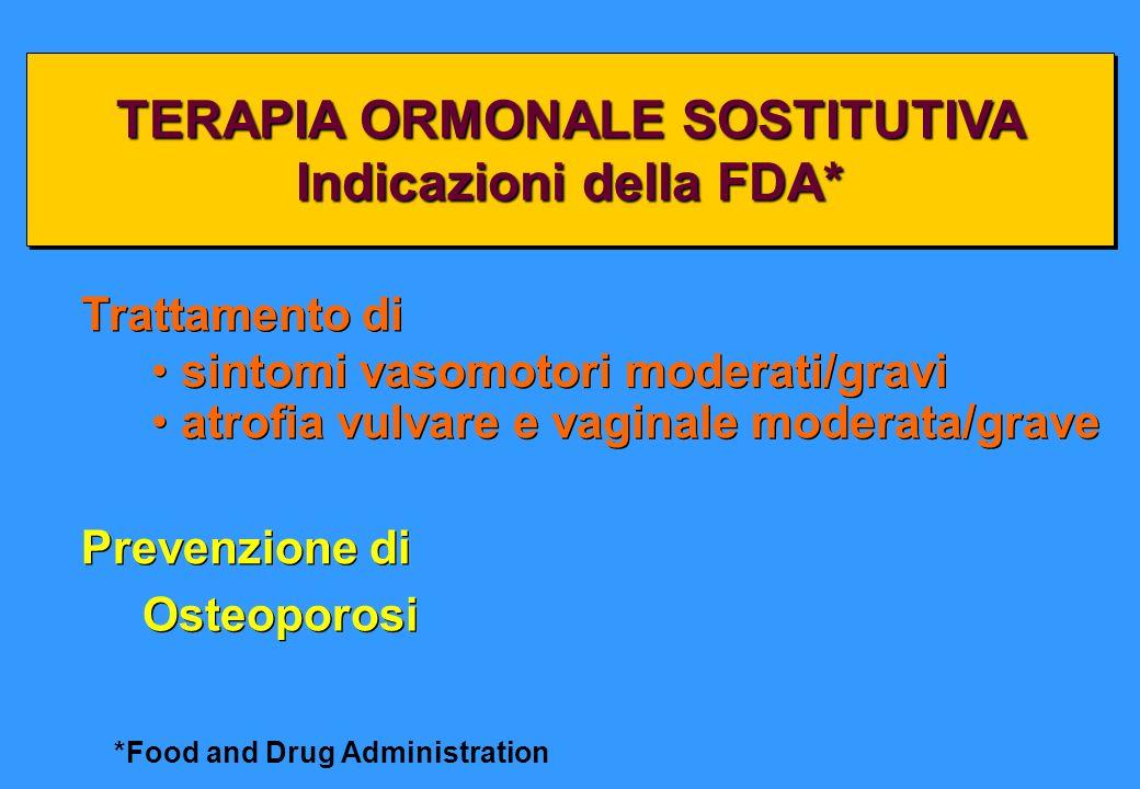 TERAPIA ORMONALE SOSTITUTIVA Indicazioni della FDA*