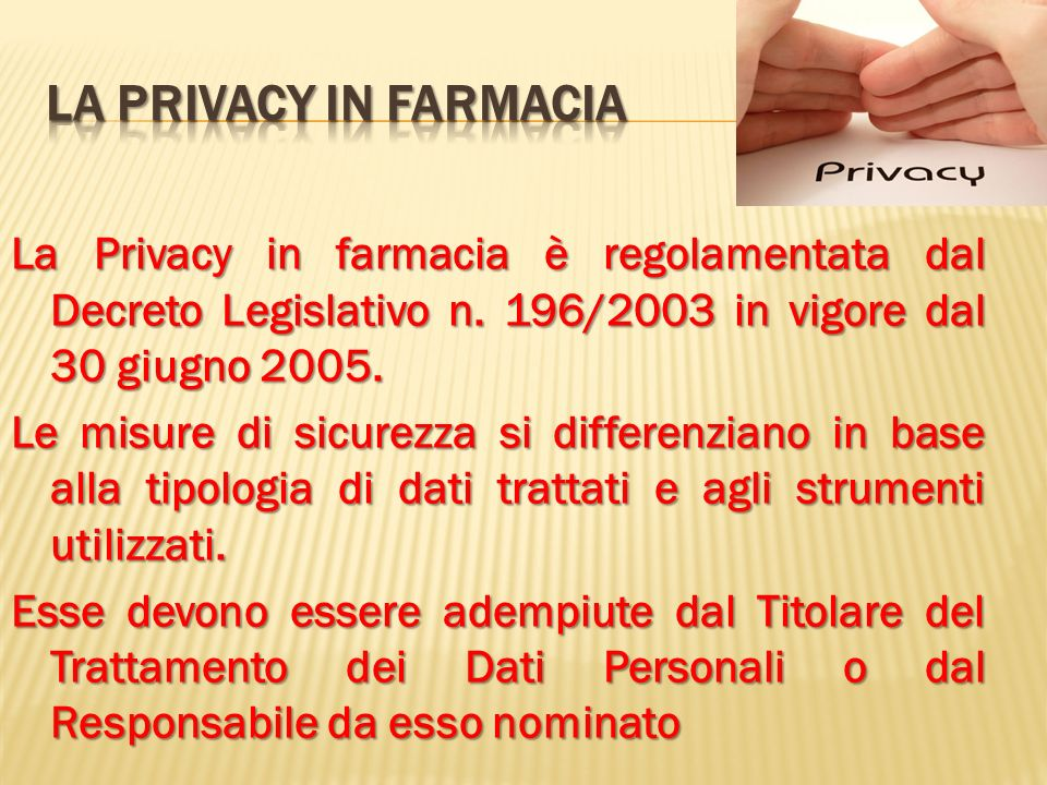La privacy in farmacia