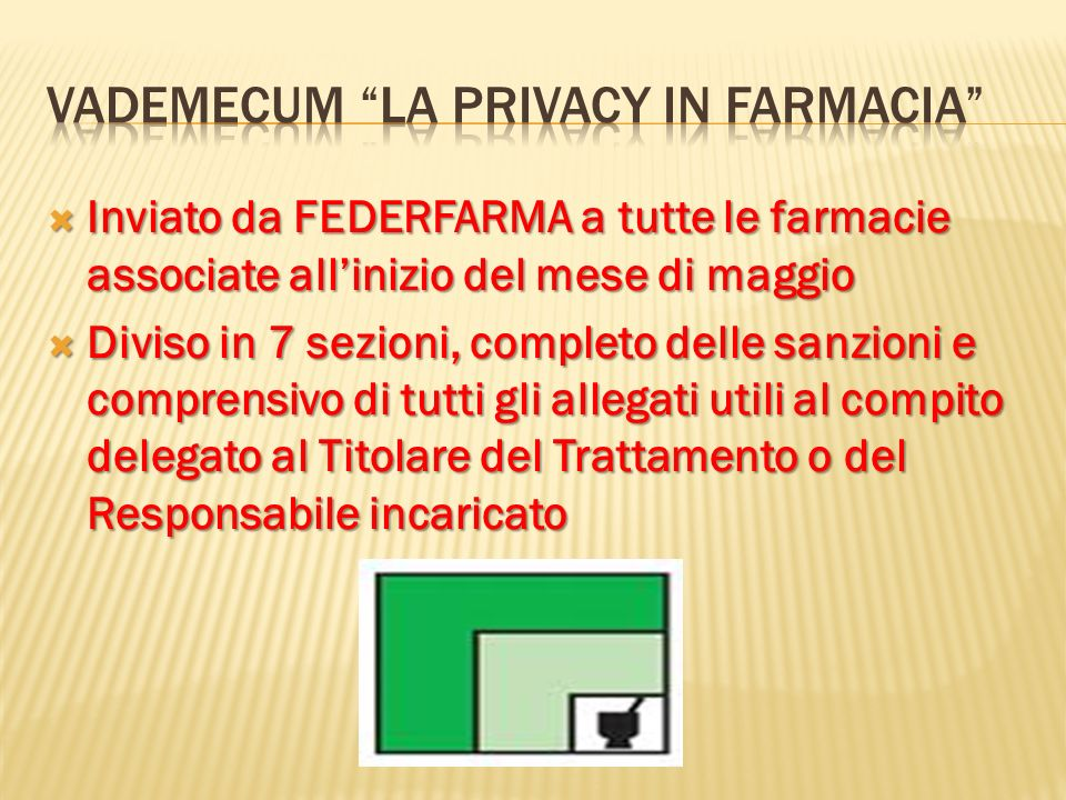 Vademecum La privacy in farmacia