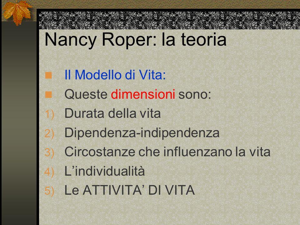Nancy Roper: la teoria Il Modello di Vita: Queste dimensioni sono: