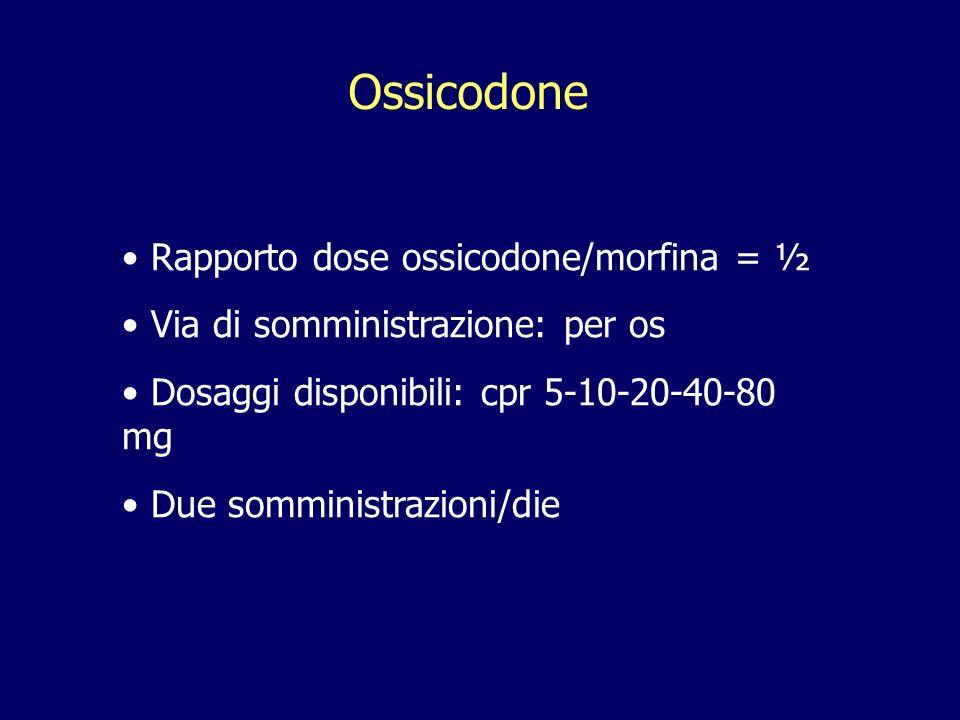 Ossicodone Rapporto dose ossicodone/morfina = ½