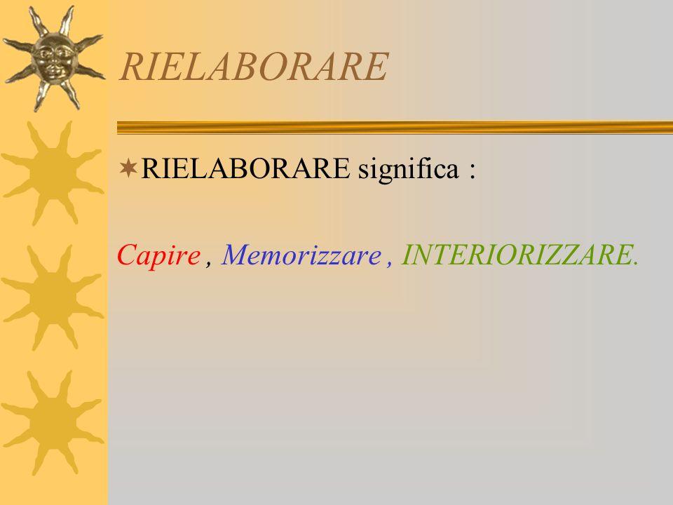 RIELABORARE RIELABORARE significa :
