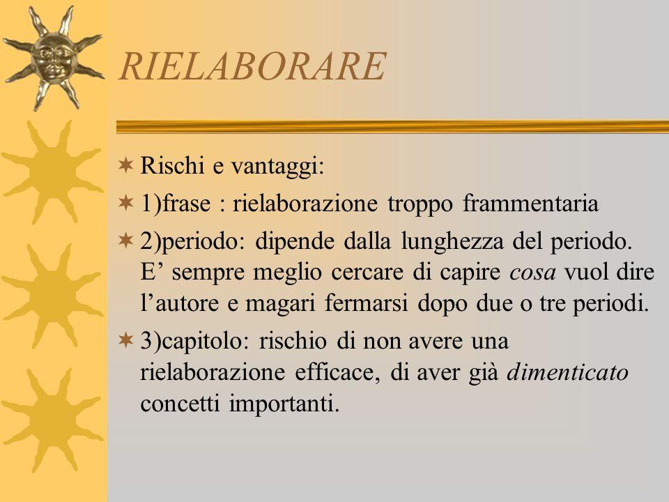 RIELABORARE Rischi e vantaggi: