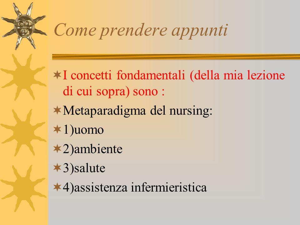 Come prendere appunti I concetti fondamentali (della mia lezione di cui sopra) sono : Metaparadigma del nursing: