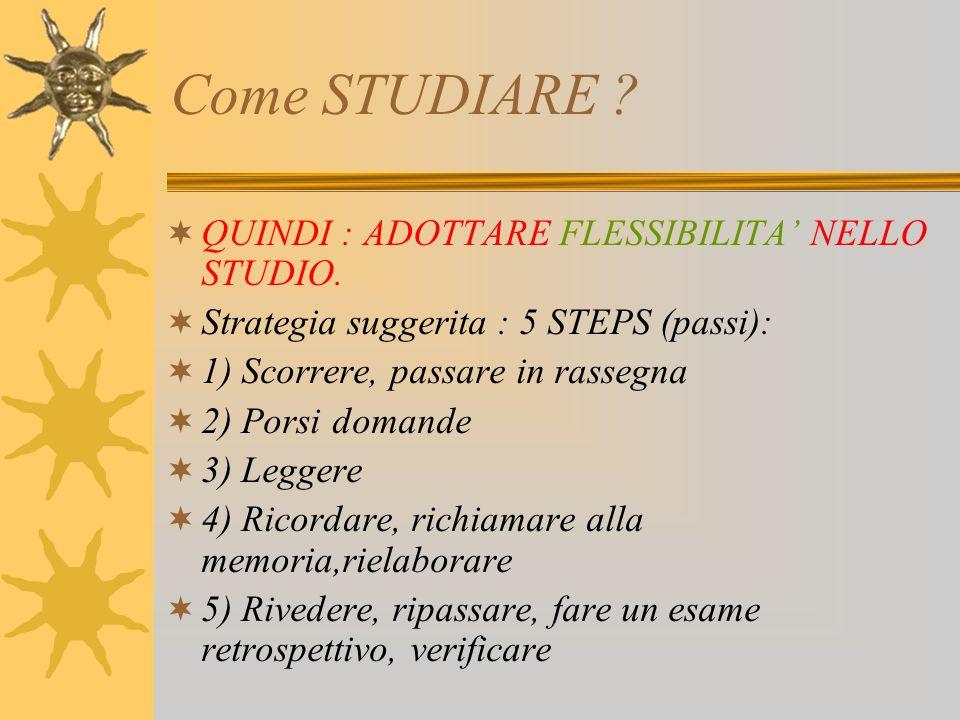 Come STUDIARE QUINDI : ADOTTARE FLESSIBILITA' NELLO STUDIO.