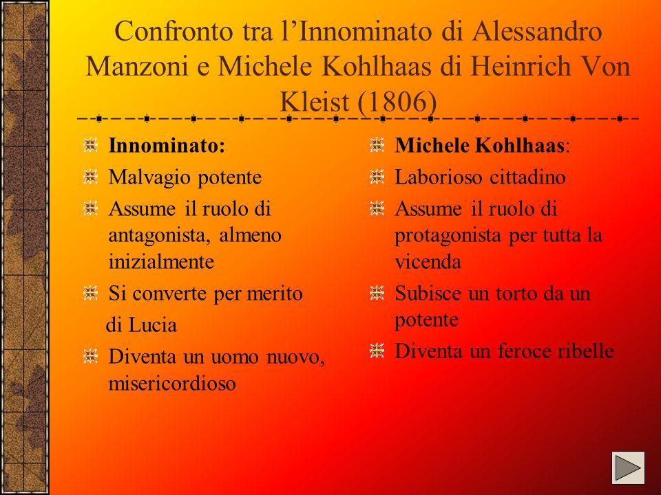 Confronto tra l'Innominato di Alessandro Manzoni e Michele Kohlhaas di Heinrich Von Kleist (1806)