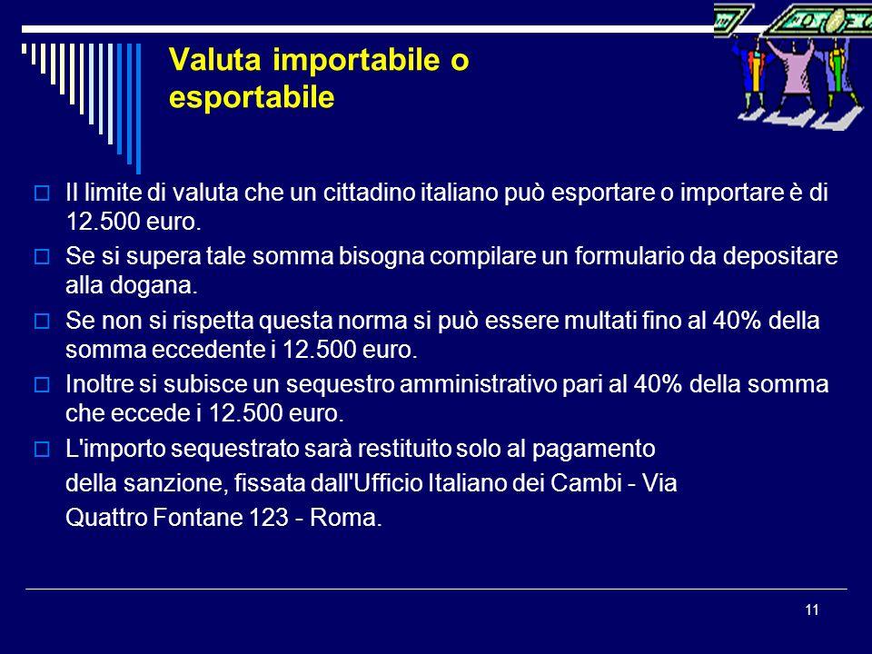 Valuta importabile o esportabile