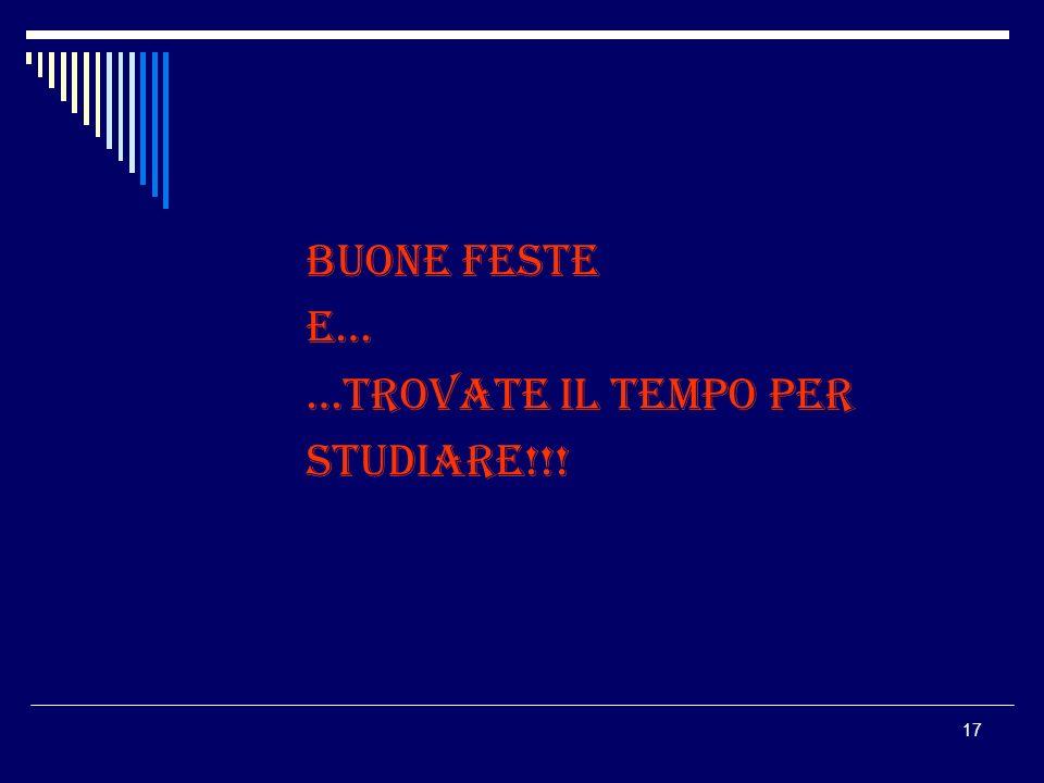 BUONE FESTE E… …TROVATE IL TEMPO PER STUDIARE!!!
