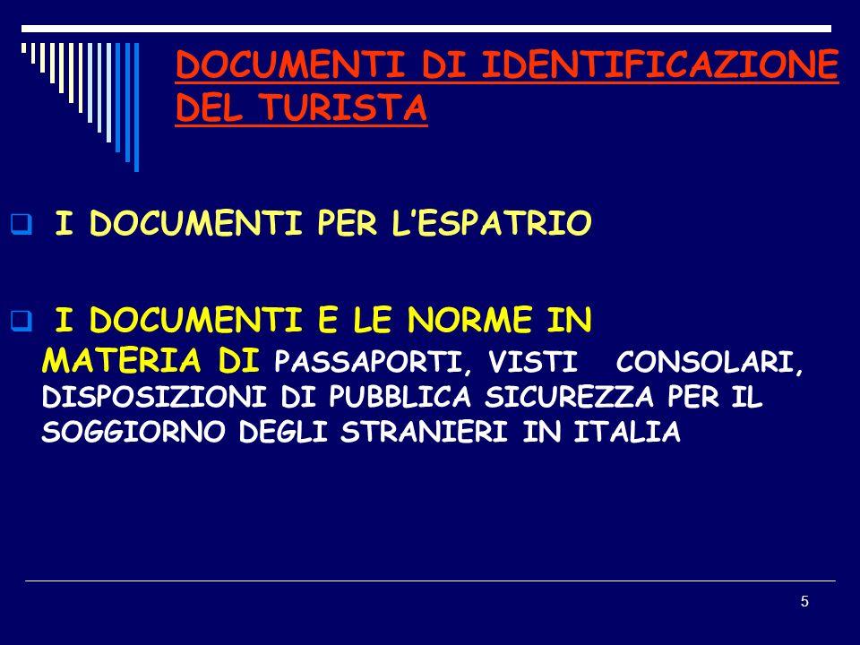 DOCUMENTI DI IDENTIFICAZIONE DEL TURISTA