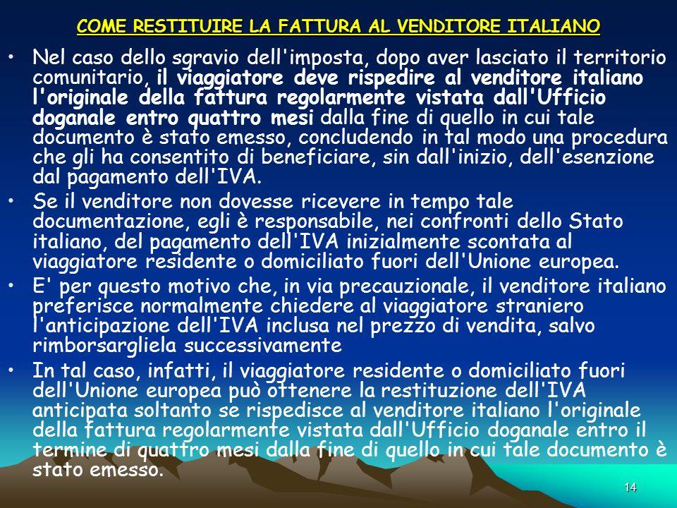 COME RESTITUIRE LA FATTURA AL VENDITORE ITALIANO