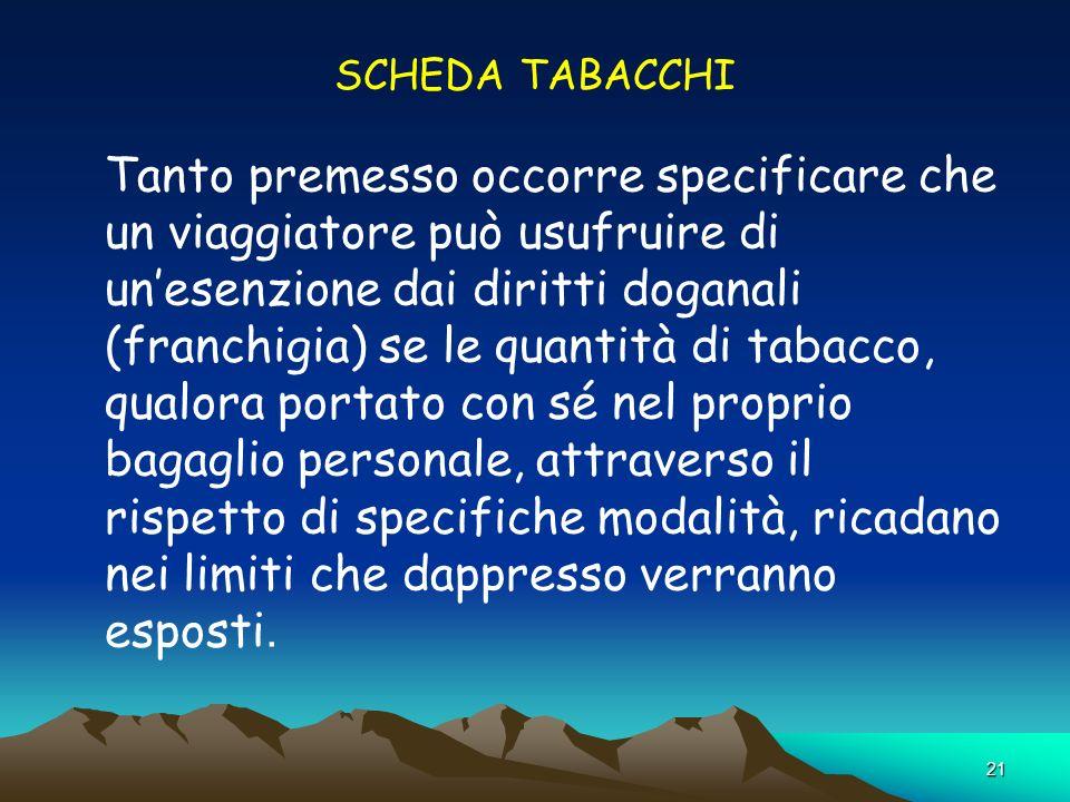 SCHEDA TABACCHI