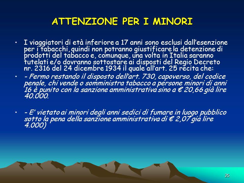 ATTENZIONE PER I MINORI