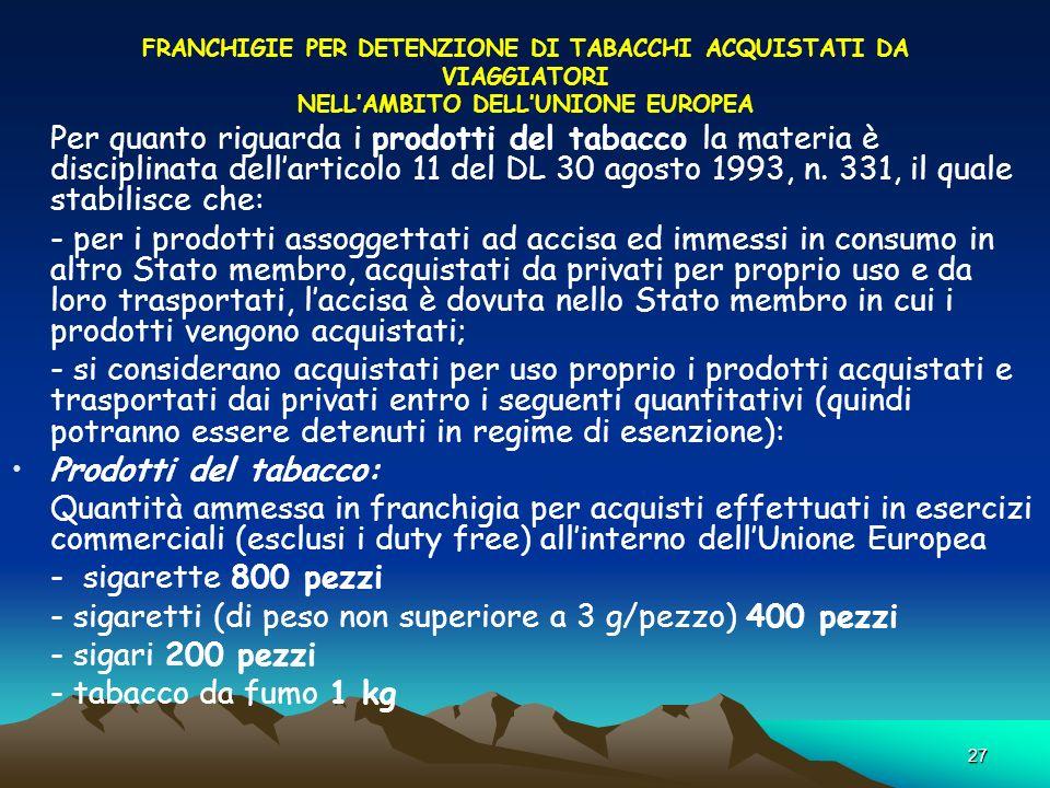 - sigaretti (di peso non superiore a 3 g/pezzo) 400 pezzi