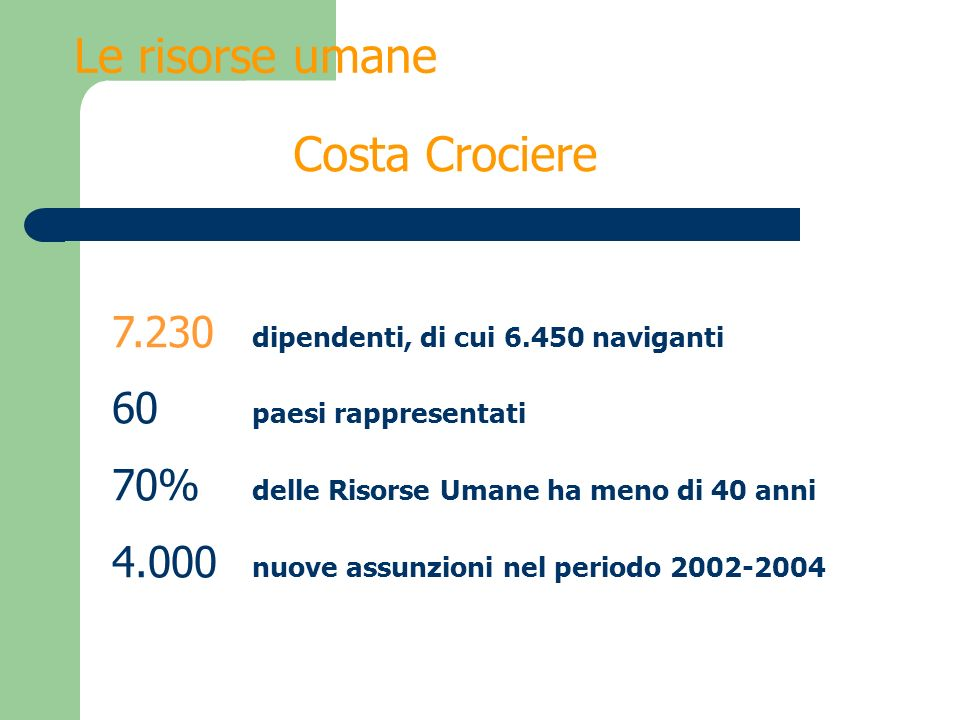 Le risorse umane Costa Crociere