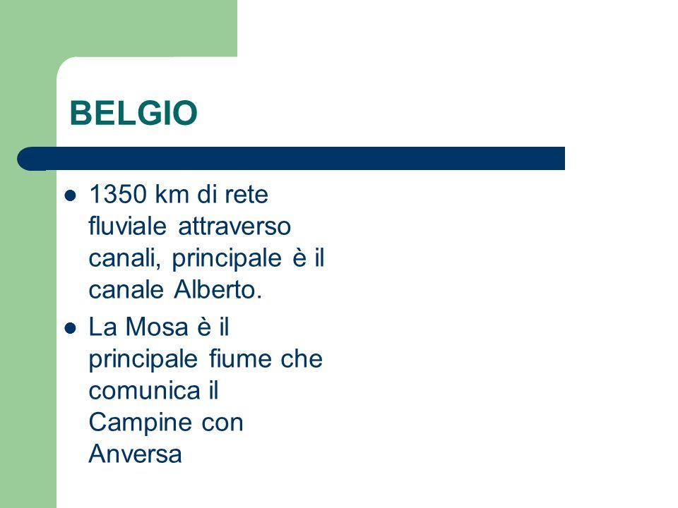 BELGIO 1350 km di rete fluviale attraverso canali, principale è il canale Alberto.