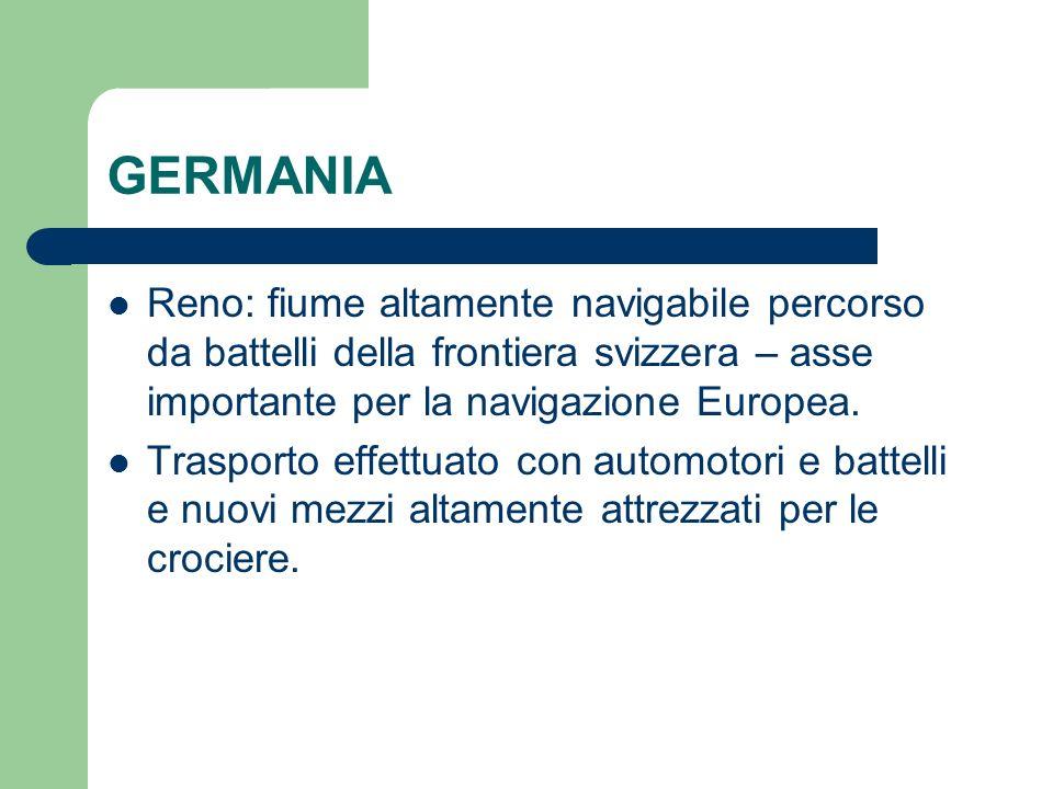 GERMANIA Reno: fiume altamente navigabile percorso da battelli della frontiera svizzera – asse importante per la navigazione Europea.