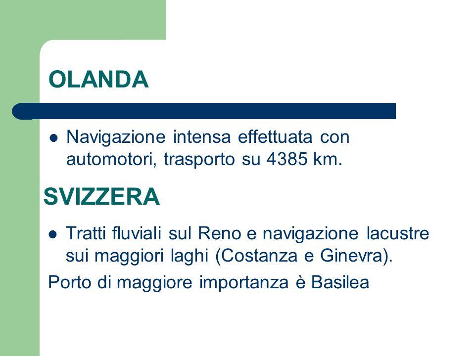 OLANDA Navigazione intensa effettuata con automotori, trasporto su 4385 km. SVIZZERA.