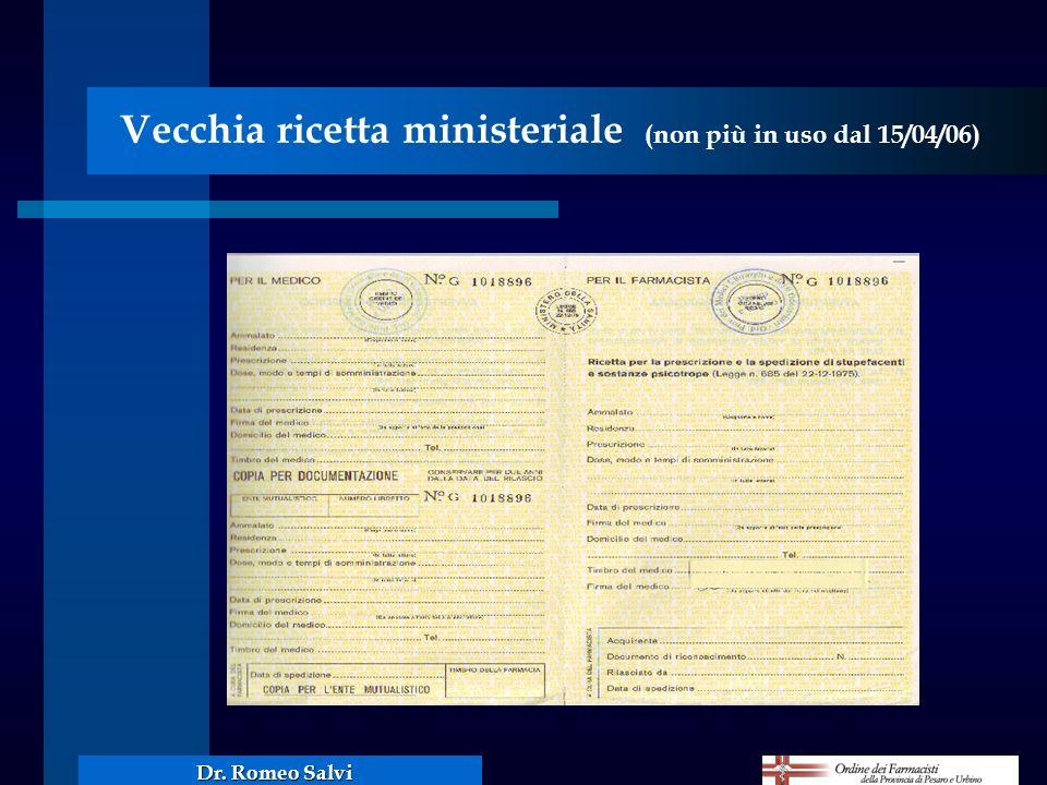 Vecchia ricetta ministeriale (non più in uso dal 15/04/06)