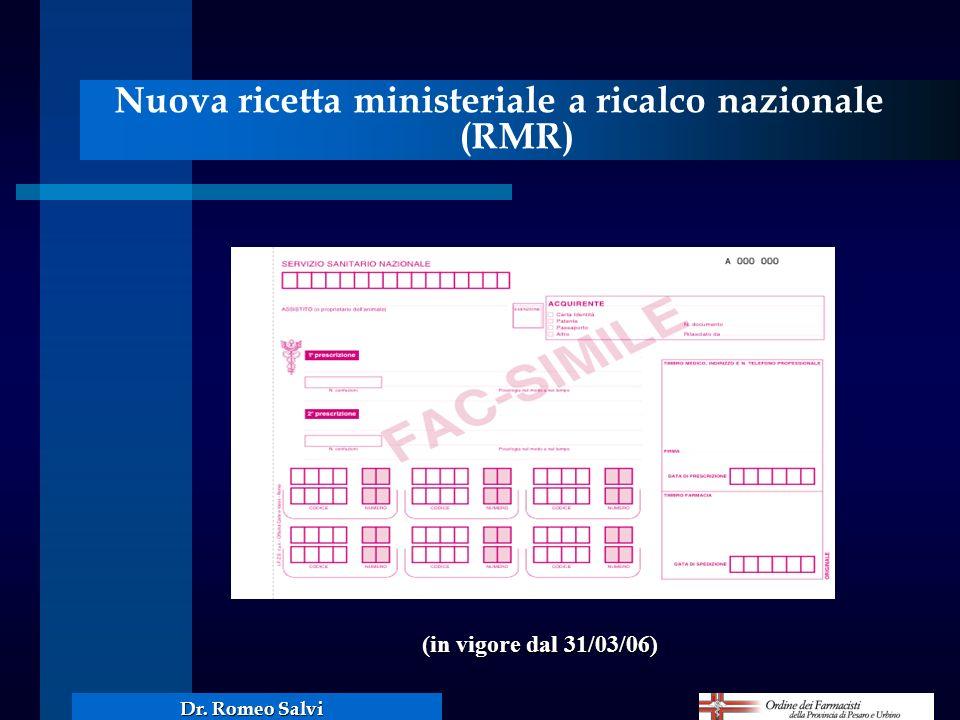 Nuova ricetta ministeriale a ricalco nazionale (RMR)