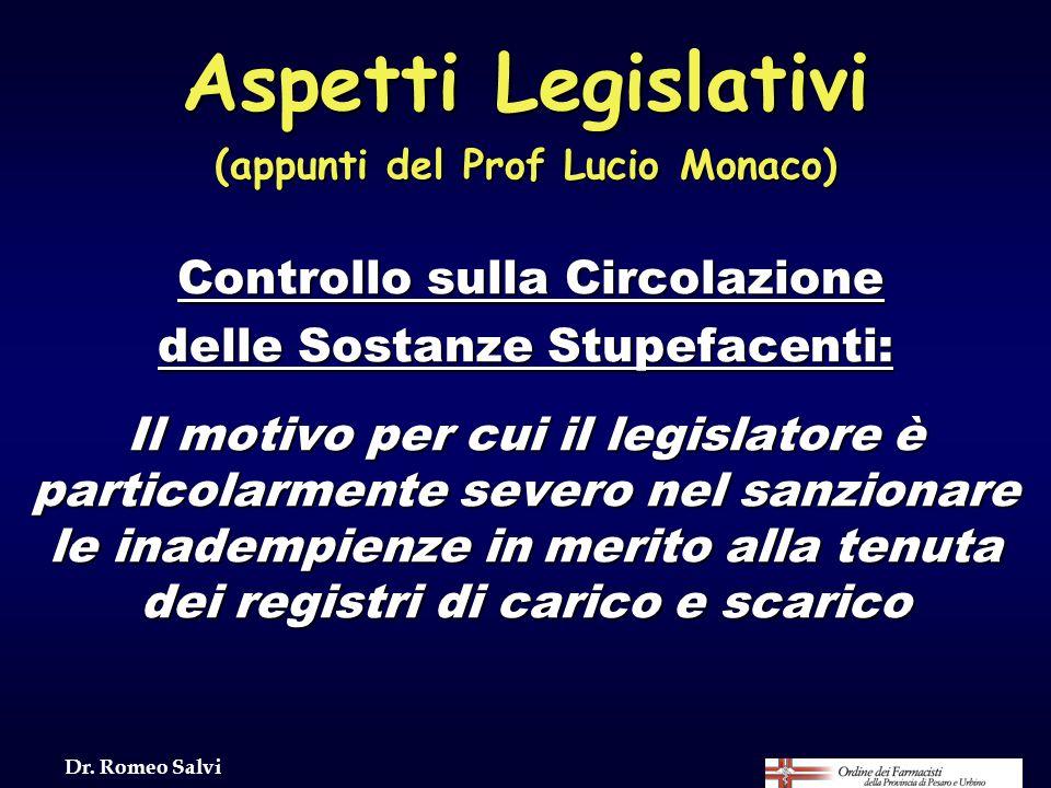 (appunti del Prof Lucio Monaco) delle Sostanze Stupefacenti: