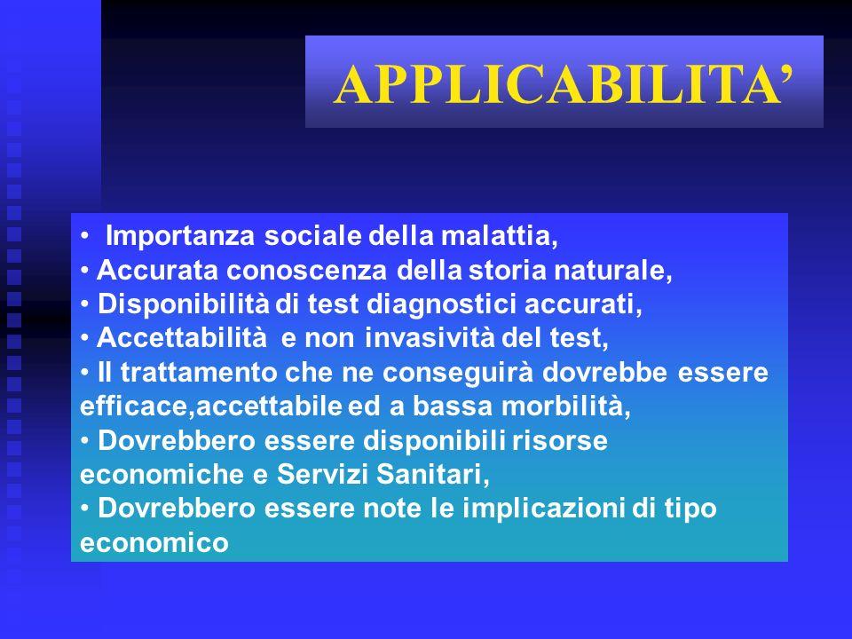 APPLICABILITA' Importanza sociale della malattia,