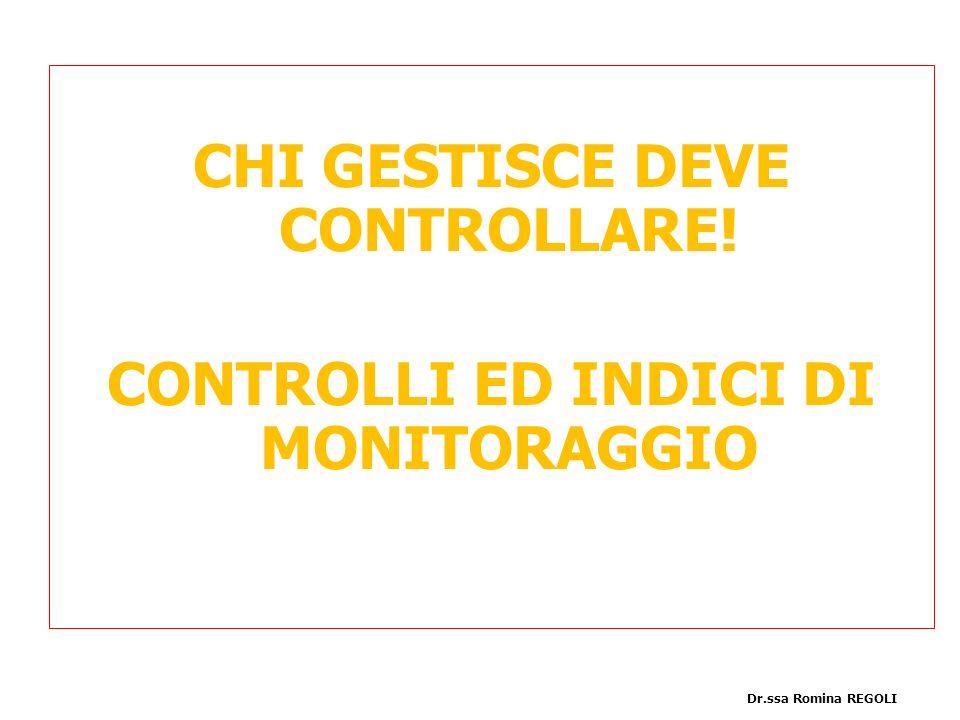 CHI GESTISCE DEVE CONTROLLARE! CONTROLLI ED INDICI DI MONITORAGGIO