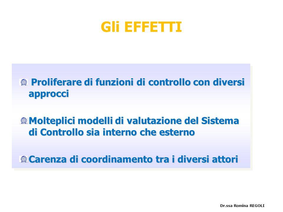 Gli EFFETTI Proliferare di funzioni di controllo con diversi approcci