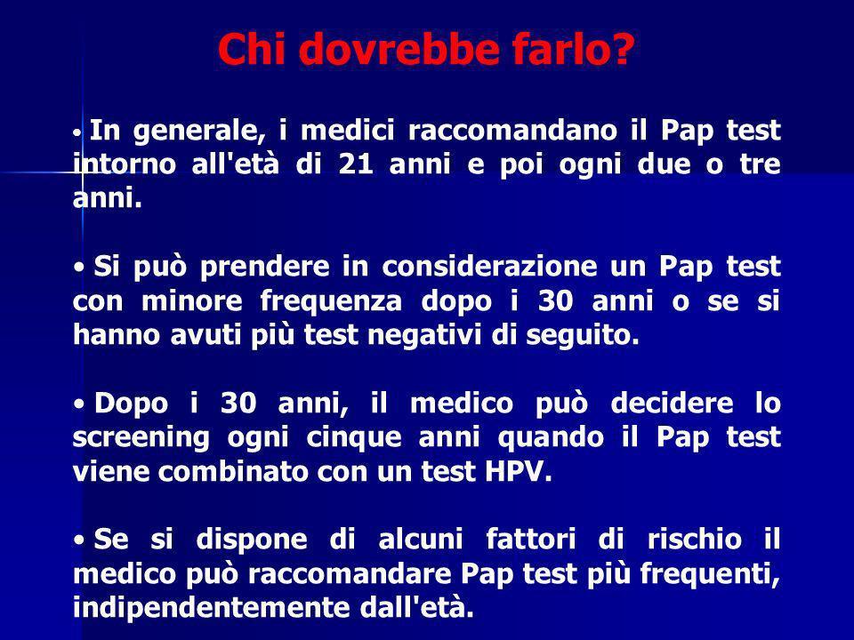 Chi dovrebbe farlo In generale, i medici raccomandano il Pap test intorno all età di 21 anni e poi ogni due o tre anni.