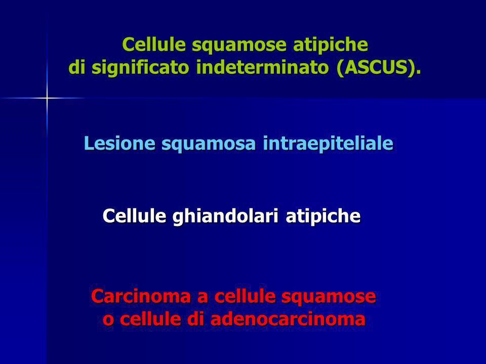 Cellule squamose atipiche di significato indeterminato (ASCUS).