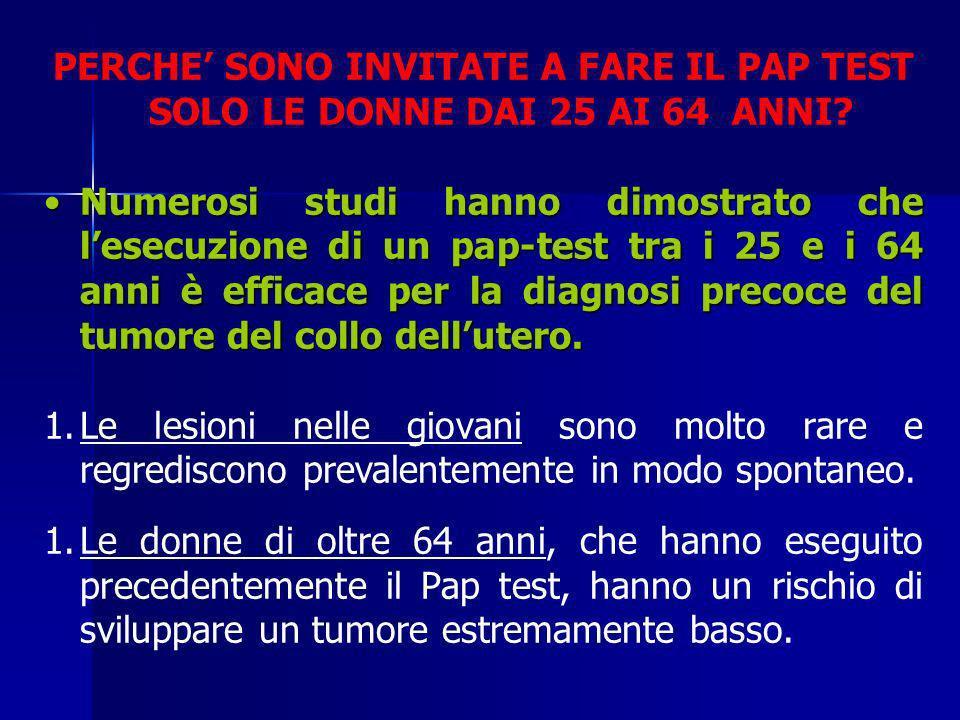 PERCHE' SONO INVITATE A FARE IL PAP TEST SOLO LE DONNE DAI 25 AI 64 ANNI