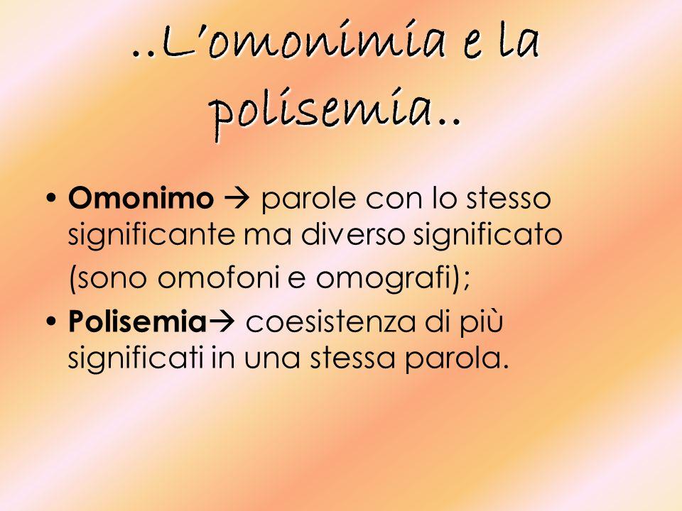 ..L'omonimia e la polisemia..