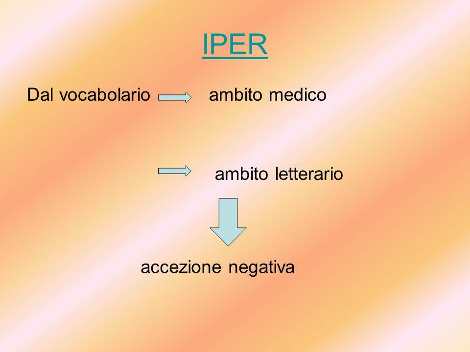 IPER Dal vocabolario ambito medico ambito letterario