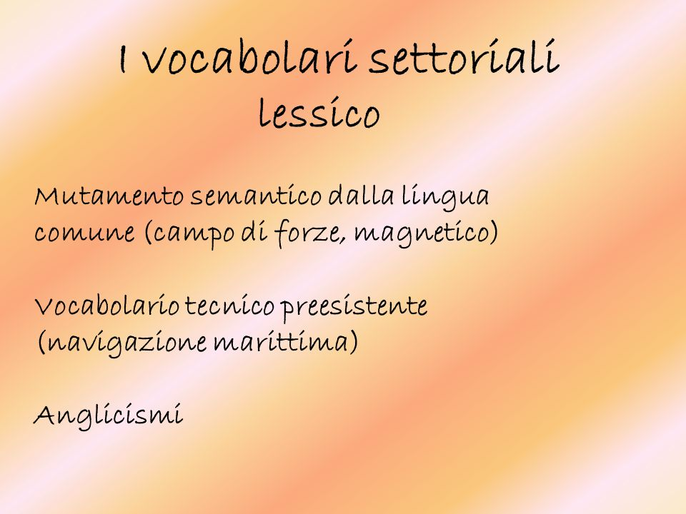I vocabolari settoriali