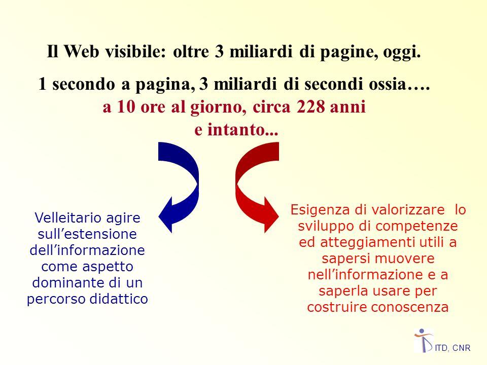 Il Web visibile: oltre 3 miliardi di pagine, oggi.