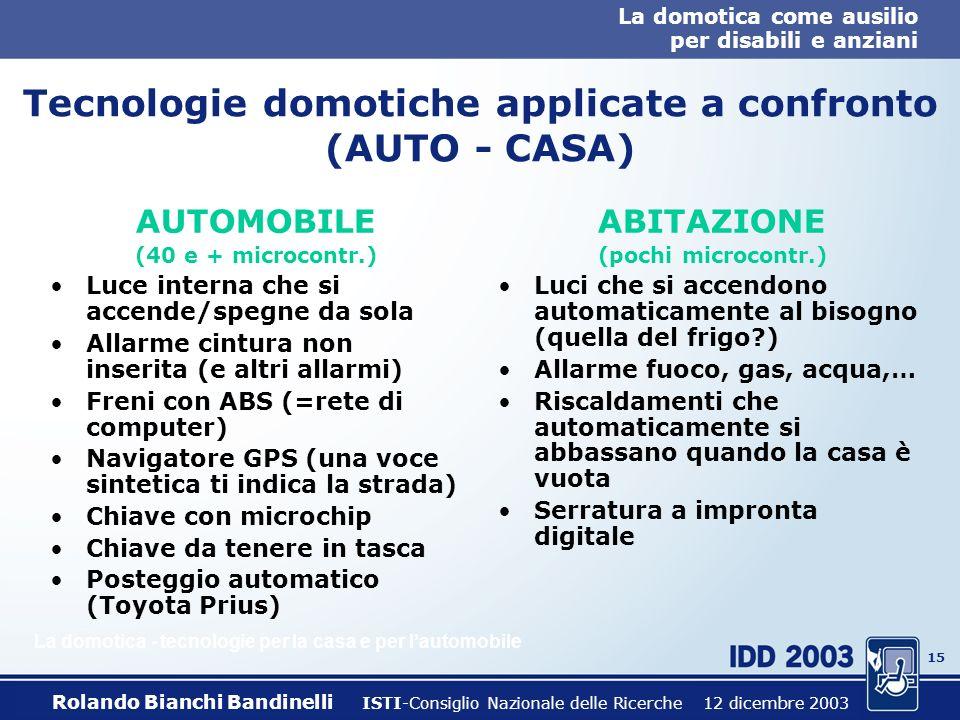 Tecnologie domotiche applicate a confronto (AUTO - CASA)