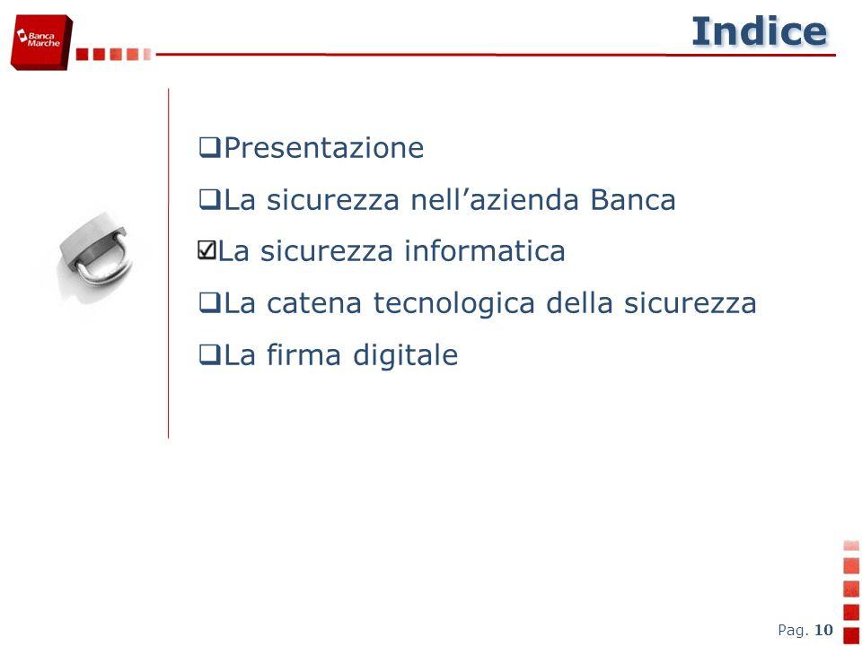 Indice Presentazione La sicurezza nell'azienda Banca