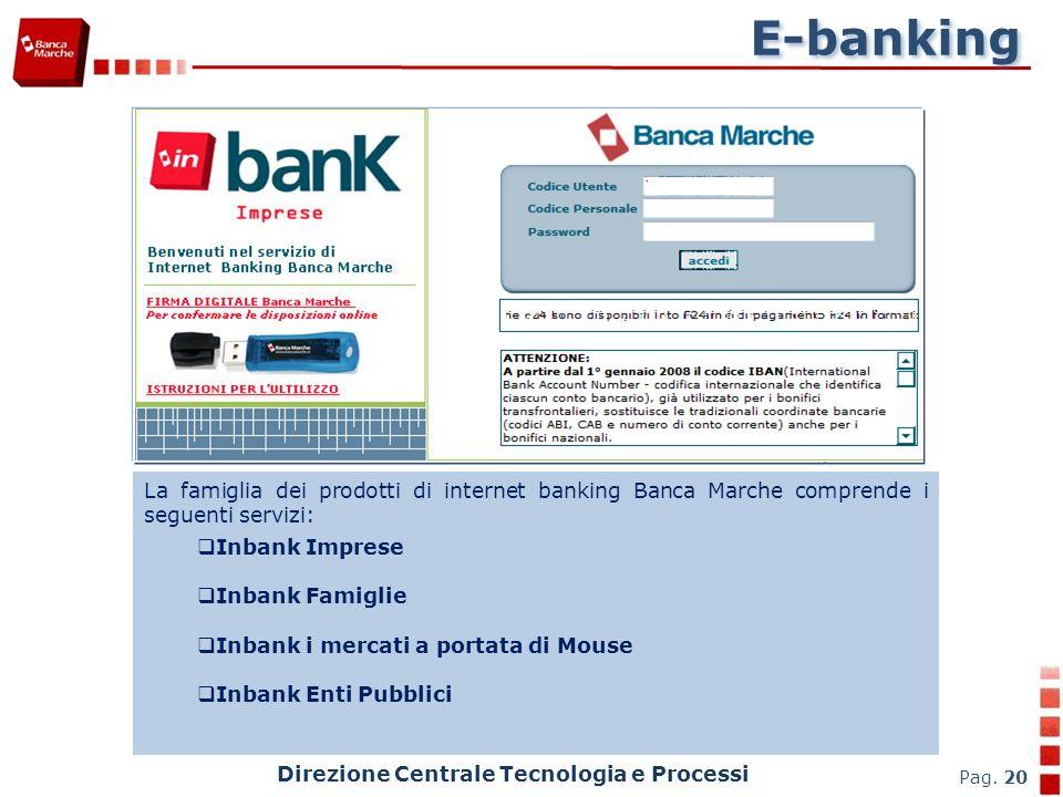 E-banking La famiglia dei prodotti di internet banking Banca Marche comprende i seguenti servizi: Inbank Imprese.