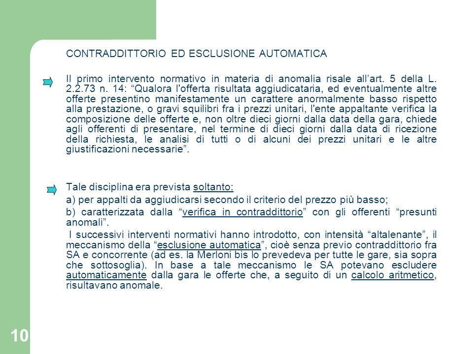 CONTRADDITTORIO ED ESCLUSIONE AUTOMATICA