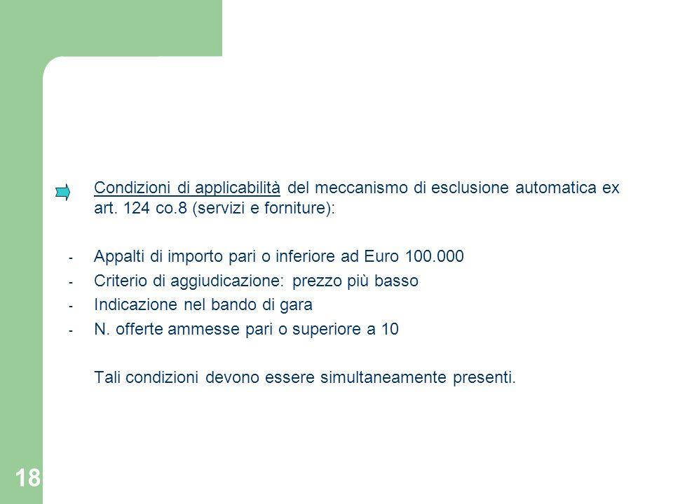 Condizioni di applicabilità del meccanismo di esclusione automatica ex art. 124 co.8 (servizi e forniture):