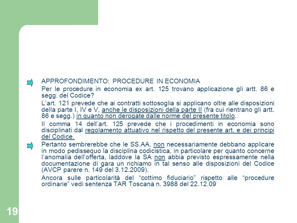 APPROFONDIMENTO: PROCEDURE IN ECONOMIA