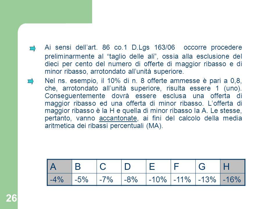 Ai sensi dell'art. 86 co.1 D.Lgs 163/06 occorre procedere preliminarmente al taglio delle ali , ossia alla esclusione del dieci per cento del numero di offerte di maggior ribasso e di minor ribasso, arrotondato all'unità superiore.