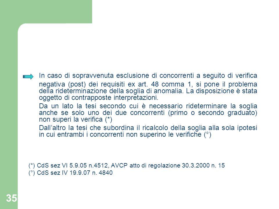 In caso di sopravvenuta esclusione di concorrenti a seguito di verifica negativa (post) dei requisiti ex art. 48 comma 1, si pone il problema della rideterminazione della soglia di anomalia. La disposizione è stata oggetto di contrapposte interpretazioni.