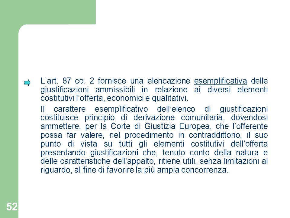L'art. 87 co. 2 fornisce una elencazione esemplificativa delle giustificazioni ammissibili in relazione ai diversi elementi costitutivi l'offerta, economici e qualitativi.