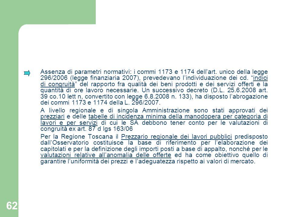 Assenza di parametri normativi: i commi 1173 e 1174 dell'art