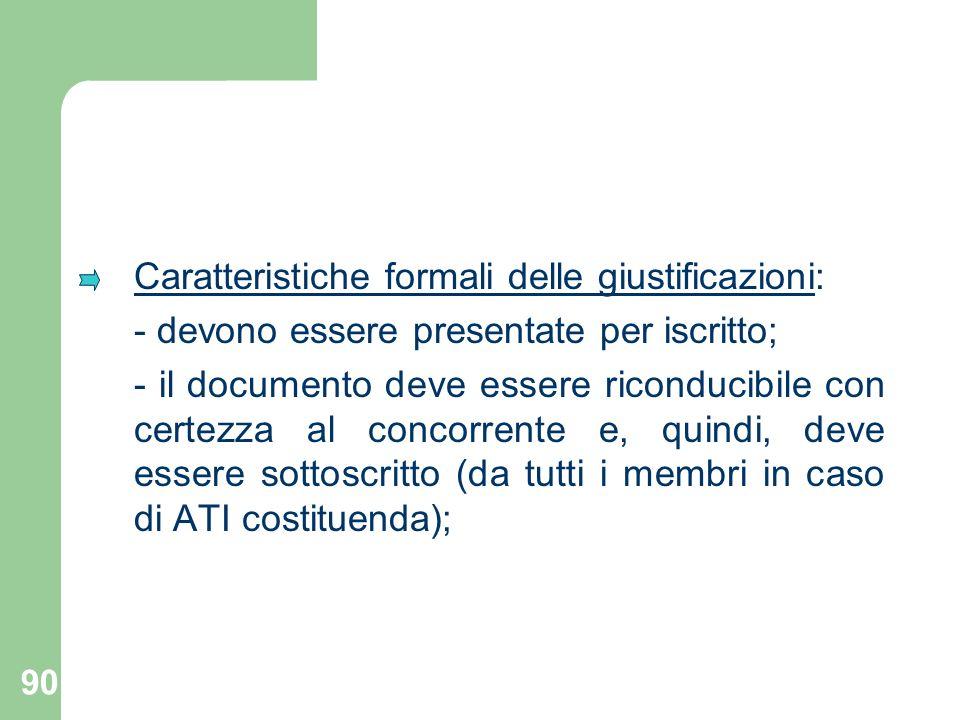 Caratteristiche formali delle giustificazioni: