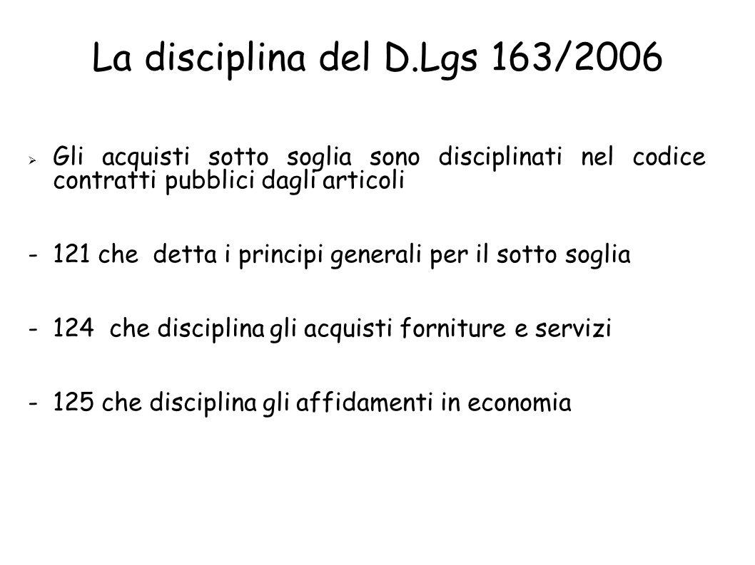 La disciplina del D.Lgs 163/2006